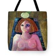 Regina, 2004 Acrylic & Metal Leaf On Canvas Tote Bag