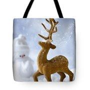 Reindeer In Snow Tote Bag