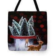 Reindeer With Christmas Trees Tote Bag