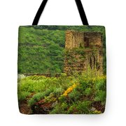 Reinfels Castle Ruins And Wildflowers In The Rhine River Valley 1 Tote Bag
