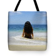 Relaxing In The Waves Tote Bag