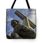 Religious Sculpture And Words Tote Bag