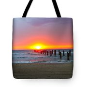Remains Of A Wharf At Sunset Tote Bag