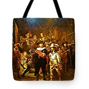 Rembrandt Painting Covered A Wall In Rijksmuseum In Amsterdam-netherlands Tote Bag