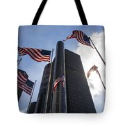 American Flags And Renaissance Center Tote Bag