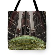 Renaissance Center Detroit Michigan Tote Bag by Nicholas  Grunas