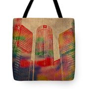 Renaissance Center Iconic Buildings Of Detroit Watercolor On Worn Canvas Series Number 2 Tote Bag