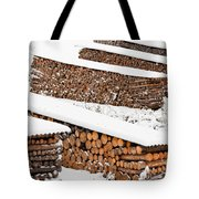 Renewable Heat Source Firewood Stacked In Winter Tote Bag