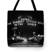 Reno Nevada The Biggest Little City In The World. The Arch Spans Virginia Street Circa 1936 Tote Bag