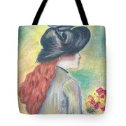 Renoirs' Painting Of Girl Holding A Bouquet In Pastels Tote Bag