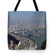 Replacement Of The Easter Span San Francisco Oakland Bay Bridge From Yerba Buena Island Oct 9th 2011 Tote Bag