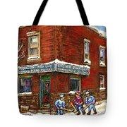 Restaurant Epicerie Jean Guy Pointe St. Charles Montreal Art Verdun Winter Scenes Hockey Paintings   Tote Bag