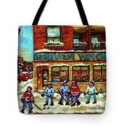 Restaurant Woodland Pizza Rue Wellington Verdun Original Hockey Art Montreal Paintings Commissions   Tote Bag