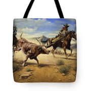 Restraint 2 Cowboys Roping A Steer Tote Bag