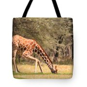 Reticulated Giraffe Drinking At Waterhole Kenya Tote Bag