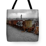 Retired Mining Ore Cars Tote Bag