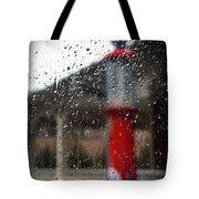 Retro Gas Pump On A Rainy Day Tote Bag