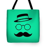 Retro Minimal Vintage Face With Moustache And Glasses Tote Bag