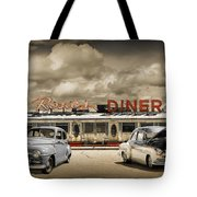 Retro Photo Of Historic Rosie's Diner With Vintage Automobiles Tote Bag
