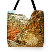 Return Trip On Hidden Canyon Trail In Zion National Park-utah Tote Bag