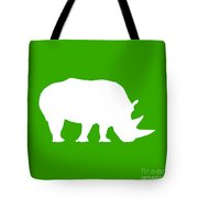 Rhino In Green And White Tote Bag