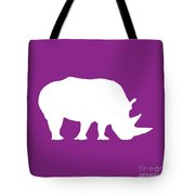 Rhino In Purple And White Tote Bag