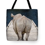 Rhino On The Dock Tote Bag