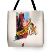 Rhode Island Map Art - Painted Map Of Rhode Island Tote Bag