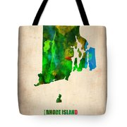 Rhode Island Watercolor Map Tote Bag by Naxart Studio