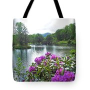 Rhododendron Blossoms And Mountain Pond Tote Bag