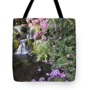 Rhododendron Flowers By Waterfall Tote Bag