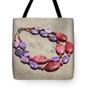 Rhodonite And Crazy Lace Agate Double Strand Chunky Necklace 3636 Tote Bag
