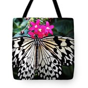 Rice Paper Butterfly On Pink Tote Bag