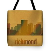 Richmond Virginia City Skyline Watercolor On Parchment Tote Bag