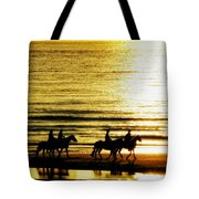 Rider Silhouettes Against The Sea Tote Bag