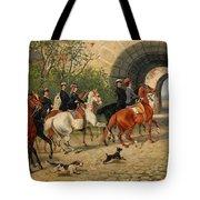 Riders At Uppsala Castle Tote Bag