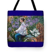 Riding Bycicle For Lilac Tote Bag