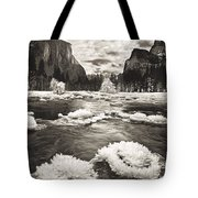 Rime Ice On The Merced In Black And White Tote Bag