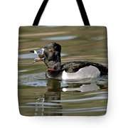 Ring-necked Duck Swallowing Snail Tote Bag