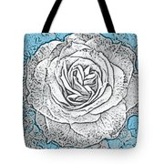Ritzy Rose With Ink And Blue Background Tote Bag