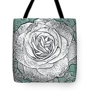 Ritzy Rose With Ink And Green Background Tote Bag