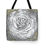 Ritzy Rose With Ink And Taupe Background Tote Bag