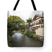 River And Houses In Kyoto Japan Tote Bag
