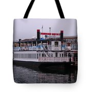 River Boat At Dock Tote Bag