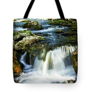River Flowing Through Woods Tote Bag