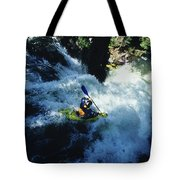 River Kayaking Over Waterfall, Crested Tote Bag