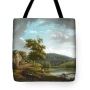River Landscape With Farmhouse Tote Bag