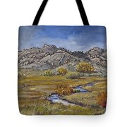 River Mural Autumn View  Tote Bag