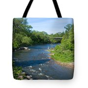 River Passing Through A Forest, Beaver Tote Bag