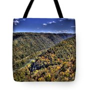 River Running Through A Valley Tote Bag